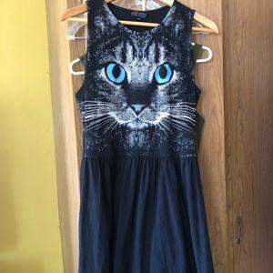 😻😽Topshop black cat dress sz 10 lolita spooky